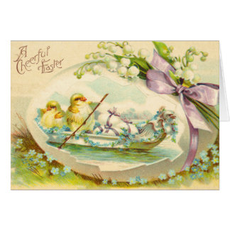 Vintage Easter Egg Chick Card