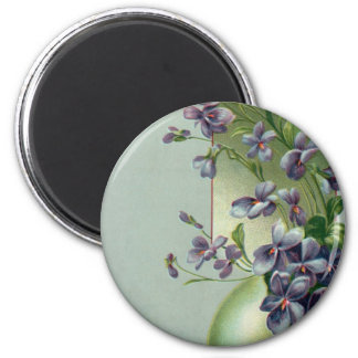 Vintage Easter Egg with Blooming Purple Flowers 6 Cm Round Magnet