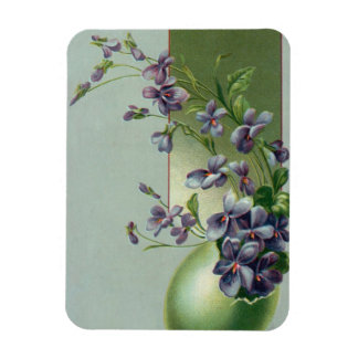 Vintage Easter Egg with Blooming Purple Flowers Rectangular Photo Magnet