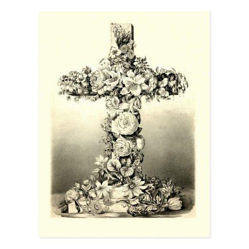 Vintage Easter Floral Christian Cross 1869