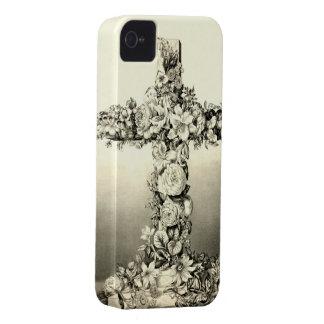 Vintage Easter Floral Christian Cross 1869 iPhone 4 Case-Mate Case
