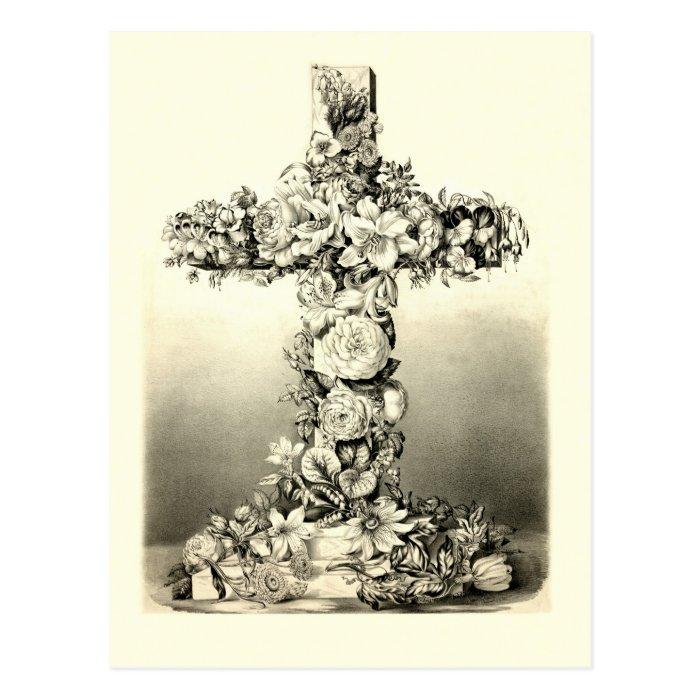 Vintage Easter Floral Christian Cross 1869 Postcard