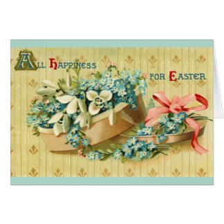 Vintage Easter Flowers Hat Box Card