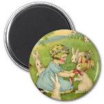 Vintage Easter, Girl Bonnet on Bunny Rabbit 6 Cm Round Magnet
