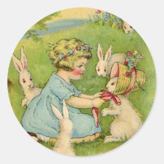 Vintage Easter, Girl Bonnet on Bunny Rabbit Round Sticker