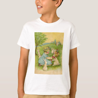 Vintage Easter, Girl Bonnet on Bunny Rabbit T-Shirt