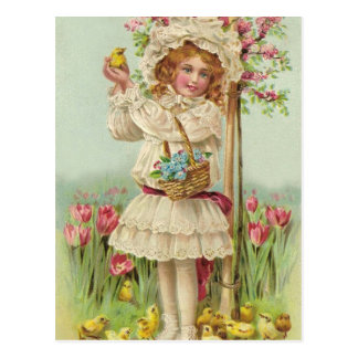 Vintage Easter Girl Postcard