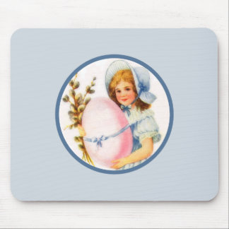Vintage Easter Girl With Bonnet And Egg Mousepad