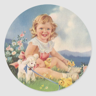 Vintage Easter, Girl with Chicks Lamb in Meadow Round Sticker