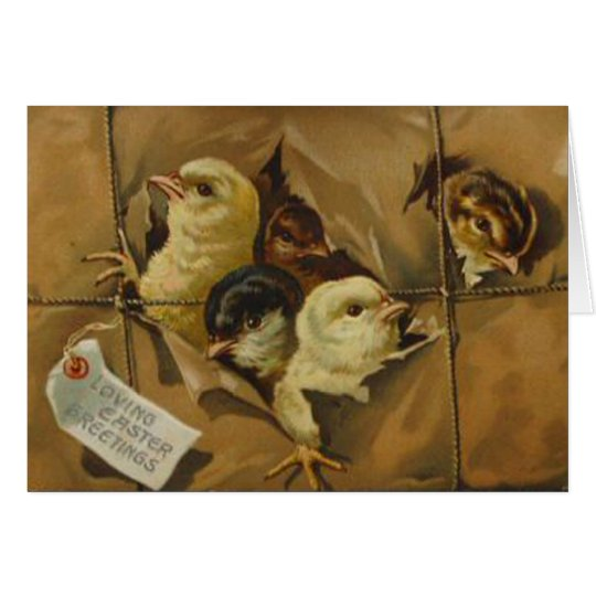 Vintage Easter Greetings (Package of Chicks) Card