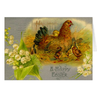 Vintage Easter Hen Card