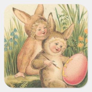 Vintage Easter Holiday Art Stamp Square Sticker
