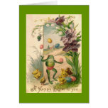 Vintage Easter Juggling Frog Greeting Card