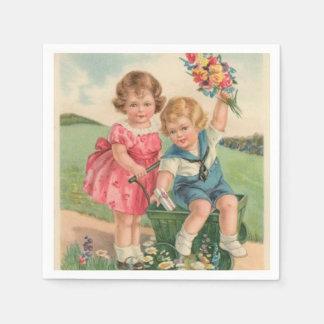 Vintage Easter Kids paper napkins