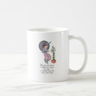 Vintage Easter Lady with Umbrella and Lily Mug