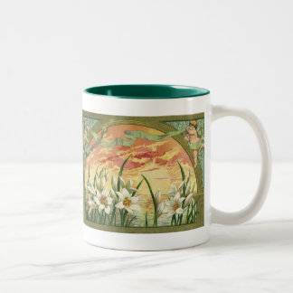 Vintage Easter Lilies and Angels at Sunrise Two-Tone Mug