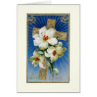 Vintage Easter Lilies and Cross Greeting Card