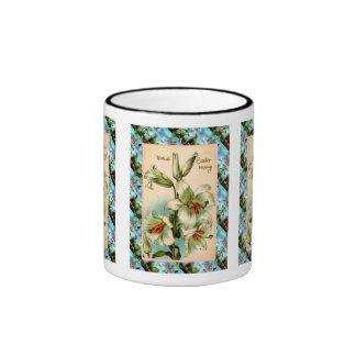 Vintage Easter,  Lilies Ringer Coffee Mug
