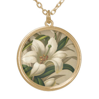 Vintage Easter Lilies, Victorian Flowers in Bloom Gold Plated Necklace