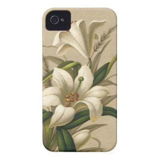 Vintage Easter Lilies, Victorian Flowers in Bloom iPhone 4 Case