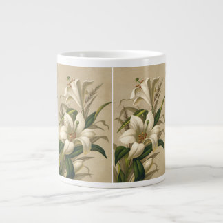 Vintage Easter Lilies, Victorian Flowers in Bloom Jumbo Mug