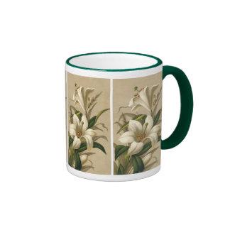 Vintage Easter Lilies, Victorian Flowers in Bloom Ringer Mug
