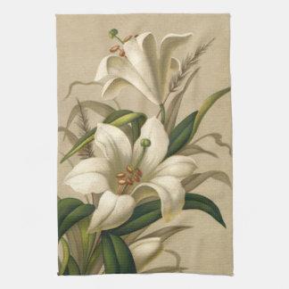 Vintage Easter Lilies, Victorian Flowers in Bloom Tea Towel