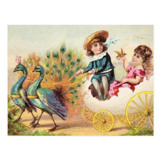 Vintage Easter Peacocks Postcard