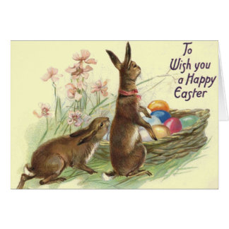 Vintage Easter Rabbits Greeting Card