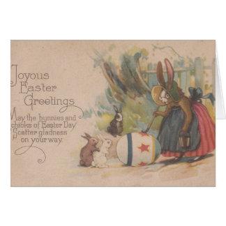 Vintage Easter Rabbits Greeting Card