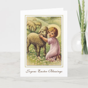 Vintage Easter Religious Blessings Prayer Holiday Card