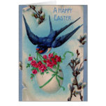Vintage Easter Swallow Greeting Card