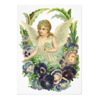 Vintage Easter Victorian Angel Purple Pansy Flower Custom Invitation