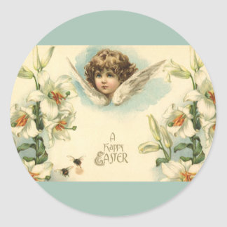 Vintage Easter, Victorian Angel with Lily Flowers Round Sticker