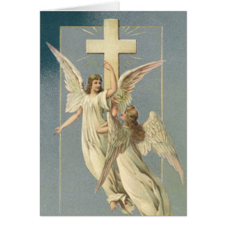 Vintage Easter, Victorian Angels with a Cross Greeting Card