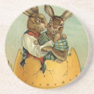Vintage Easter, Victorian Bunnies in an Egg Beverage Coasters