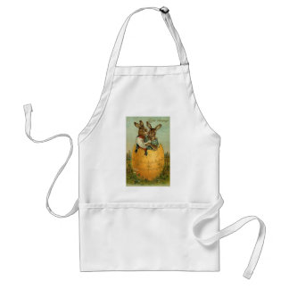 Vintage Easter, Victorian Bunnies in Egg Apron