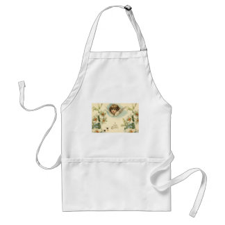 Vintage Easter, Victorian Cherub with Lily Flowers Aprons