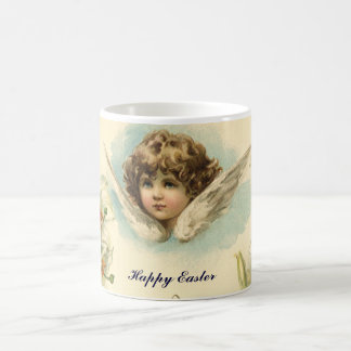 Vintage Easter, Victorian Cherub with Lily Flowers Basic White Mug
