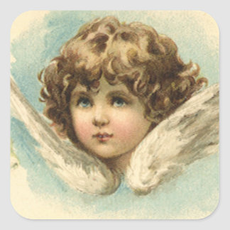 Vintage Easter, Victorian Cherub with Lily Flowers Square Stickers