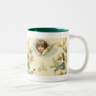 Vintage Easter, Victorian Cherub with Lily Flowers Two-Tone Mug