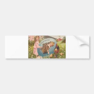 Vintage Easter Victorian Girl & Boy Bumper Sticker