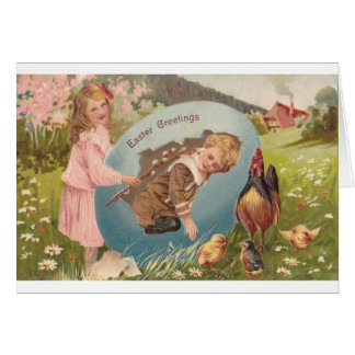 Vintage Easter Victorian Girl & Boy Greeting Card