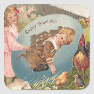 Vintage Easter Victorian Girl & Boy Square Sticker
