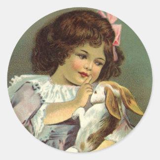Vintage Easter, Victorian Girl Bunny Rabbit Eggs Round Sticker