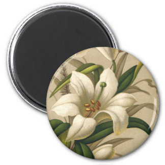 Vintage Easter, Victorian Lily Flowers in Bloom 6 Cm Round Magnet