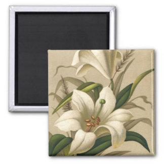 Vintage Easter, Victorian Lily Flowers in Bloom Fridge Magnets