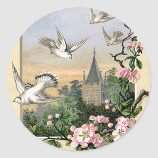 Vintage Easter, White Dove Birds and Flowers Round Sticker