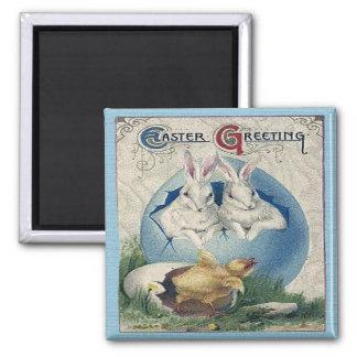 Vintage Easter White Rabbits and Chick Fridge Magnets