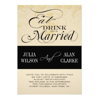 Vintage Eat Drink and Be Married Wedding Invite